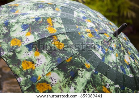 Rainy garden, rain umbrella rain #659089441