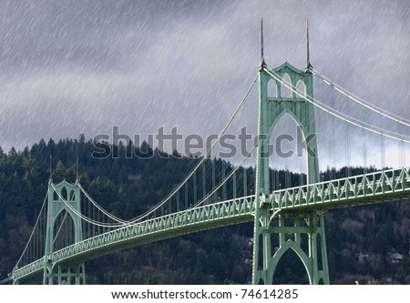 Rainy Image of Saint John's Bridge in Portland, Oregon.