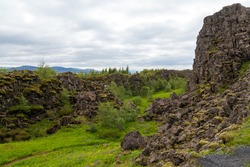 Rainy landscape panorama on rocks in Pingvellir Thingvellir Park in Iceland