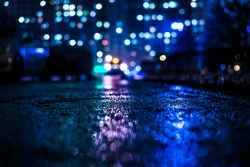 Rainy night in the big city, alley with cars on the background of glowing windows of the house opposite. View from the level of asphalt, in blue tones