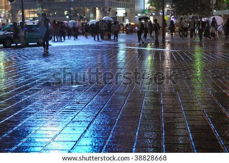 rainy pavement reflection by  night with crowd apart in Tokyo Metropolis, focus on pavement