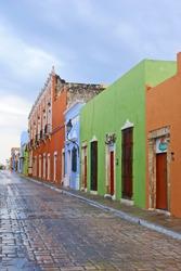 rainy street in Campeche