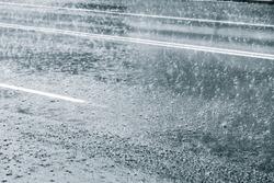 Rainy weather on a city street