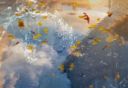 rainy weather sky reflection in puddle water asphalt after rain bubbles rainy season autumn leaves fall building reflection on water