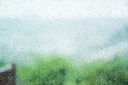 rainy weather, view from window, blur bokeh