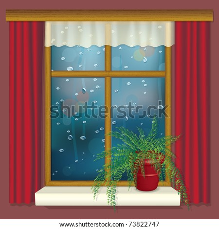 Rainy window with curtains and flower on the window sill - realistic illustration - raster version of vector ID 73509691