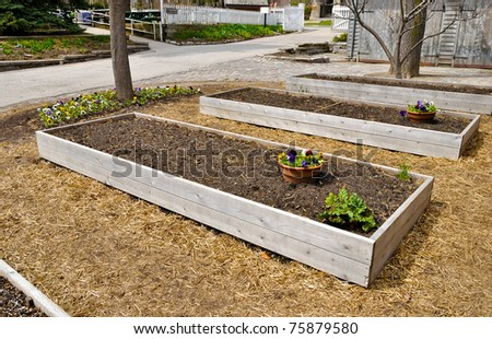 Raised Flower beds ready for planting - stock photo
