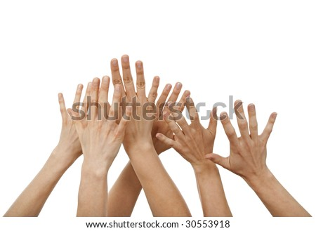 Raised hands, greeting or asking for help, isolated on white.