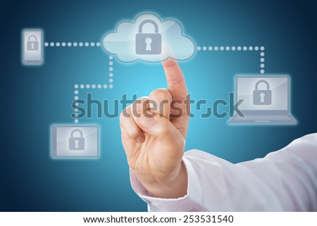 Raised index finger touching a locked cloud icon linked via dotted lines to mobile and tablet devices within a network. Cell phone, tablet and laptop computer all display the lock on-screen. Close up.