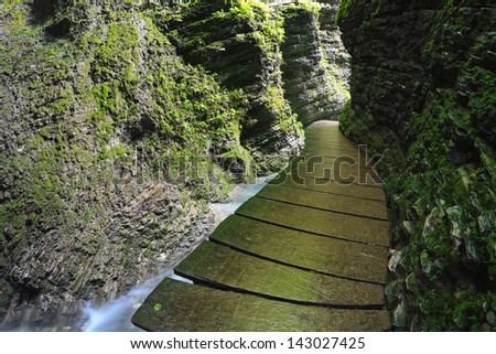 Raised path leading to Kozjak gorge waterfall near Kobarid, Slovenija
