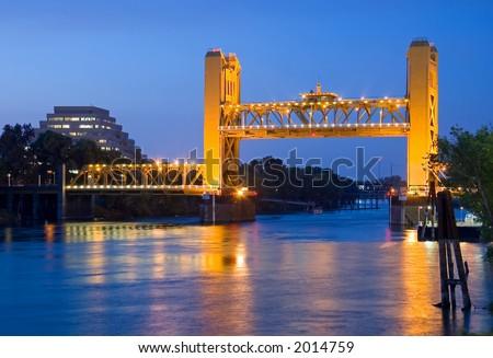 Tower Bridge Sacramento Images Raised Tower Bridge at Night