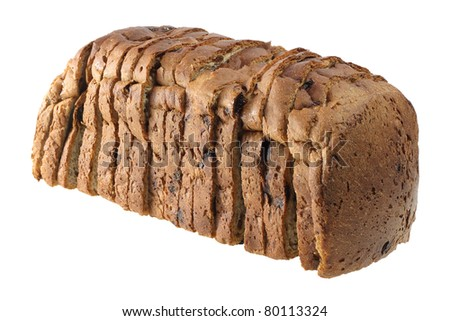 Raisin Bread on White Background