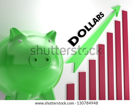 Raising dollars, usd Chart Showing American Revenues And Improvement - stock photo