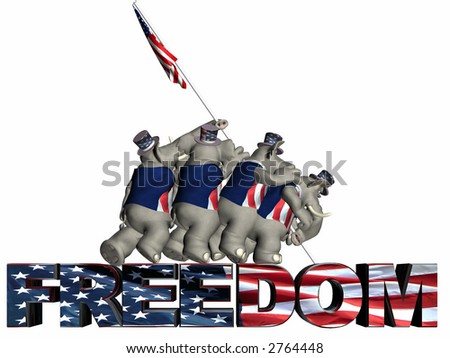 Raising the Flag of Freedom Represented by a group of Republican political Elephants. Isolated on a white background.