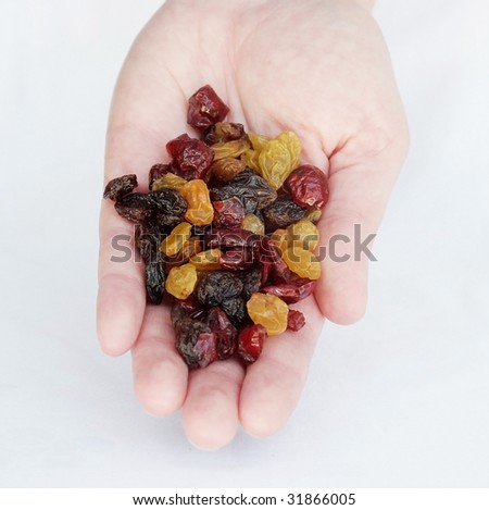 Raisins and cranberries in a hand