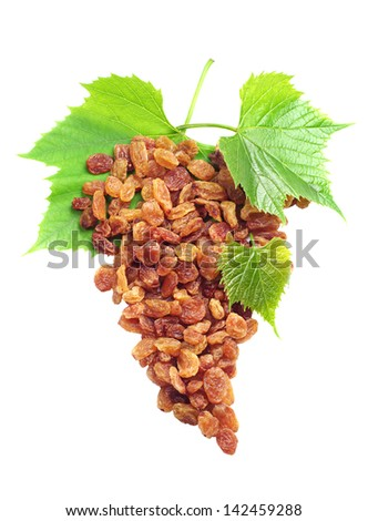 Raisins and grapes with leaves isolated on a white background - stock photo
