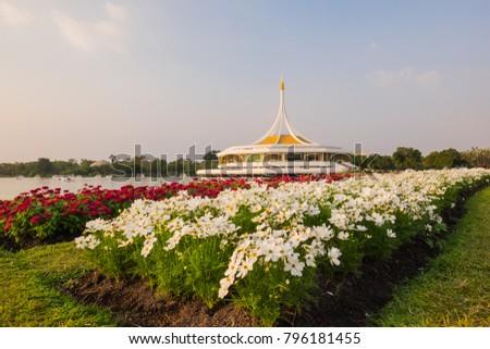 Rajamangala Hall at Suan luang Rama IX with Flowers,Bangkok,Thailand
