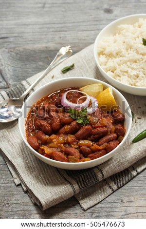 Rajma masala / Red Kidney beans curry served with Basmati rice