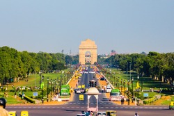 Rajpath with India Gate war memorial in background situated in New Delhi, India. One of the most efficiently built road in the capital of India. Rajpath road connects India Gate & Rashtrapati Bhavan.