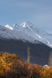 Rakaposhi mountain peak view from Hunza valley in autumn season, Karakoram mountains range in north Pakistan, Asia