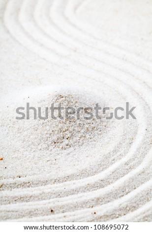 Raked sand garden - zen or meditation concept