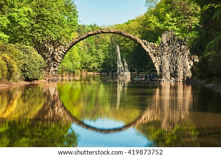 stock photo rakotzbrucke also known as devil s bridge in kromlau in germany reflection of the bridge in the 419873752 - Каталог - 3d фотообои