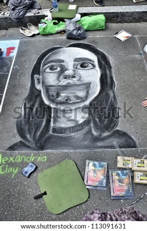RALEIGH, NC, USA - SEPTEMBER 15: ArtSpark\'s street painting festival in Fayetteville street attracted a big crowd on September 15, 2012 in Raleigh, NC, USA