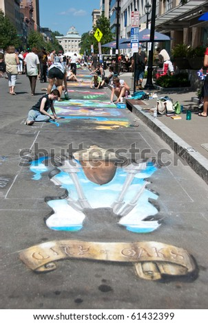 RALEIGH, NC, USA - SEPTEMBER 18: ArtSpark\'s street painting festival in Fayetteville street attracted a big crowd on September 18, 2010 in Raleigh, NC, USA