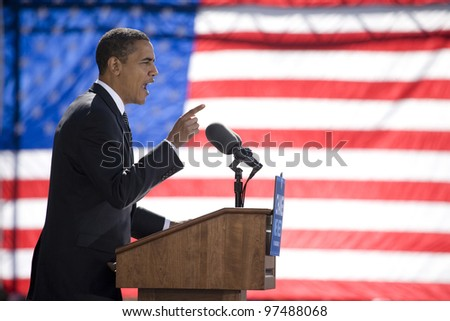 RALEIGH - OCT 29: Presidential candidate Barack Obama speaks at an early vote for change Presidential rally at Halifax Mall on October 29, 2008 in Raleigh, NC. - stock photo