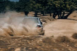 Rally car in the motion with the cloud of sands