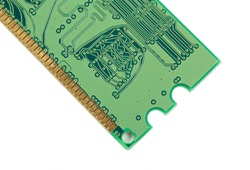 RAM memory. Chip close up , microelectronics , RAM macro , computer circuit on a white background. Operative memory for notebook or laptop computer, monoblock, isolated on white background