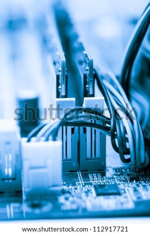 RAM socket closeup on the computer motherboard