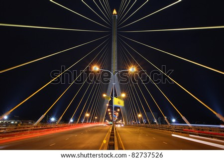 Rama 8 Bridge At Night
