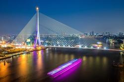 Rama8 bridge bangkok city , thailand.