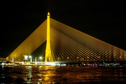 Rama VIII Bridge, a suspension bridge on the Chao Phraya River