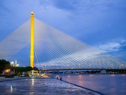 Rama VIII bridge in Bangkok, Thailand. Beautiful bridge across the Chao Phraya river: photo from Rama VIII park.