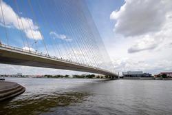 Rama VIII Bridge is used to cross the Chao Phraya River in Bangkok in Thailand.