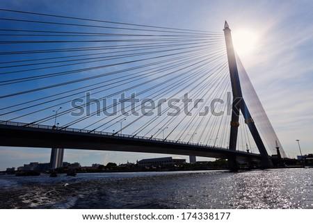 Rama VIII Bridge on Chao Phraya River in Bangkok #174338177