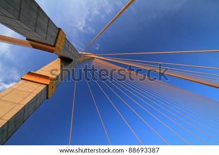Rama VIII Bridge, Suspension bridge in Bangkok, Thailand #88693387