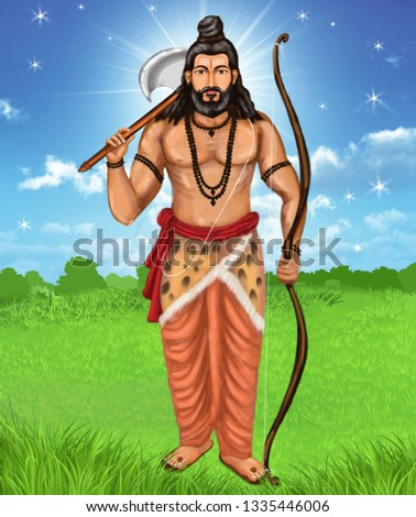 Rama with an axe is the sixth avatar of Vishnu in Hinduism. Born as a brahmin, Parshuram carried traits of a Kshatriya.