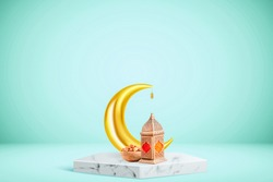 Ramadan and Eid al fitr concept 2021 backgrounds. Turkish traditional lantern Light Lamp,bowl of dates and crescent moon on a podium with green colour background, Ramadan kareem 3d background concept.