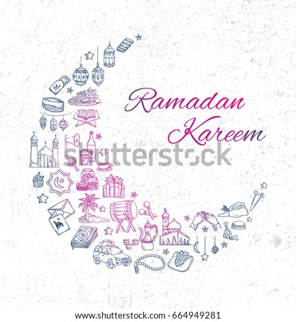 Ramadan and Eid mubarak greeting card with various object in doodle style #664949281