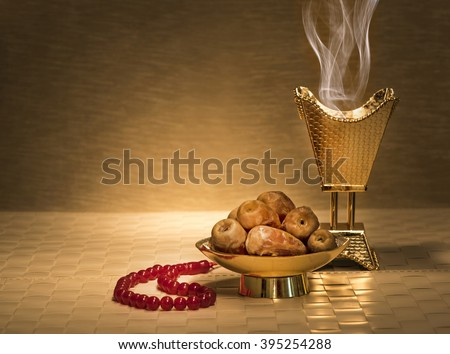 Ramadan dates with censer and rosary