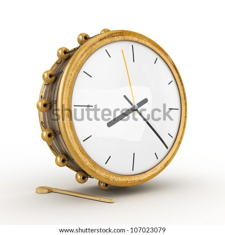Ramadan drum clock 3D Rendered Isolated