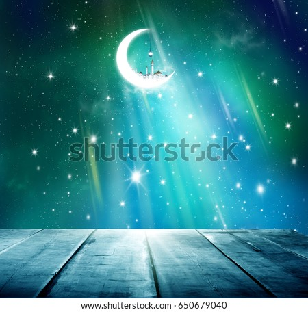 Ramadan Kareem background.Stars background  with wooden table. #650679040