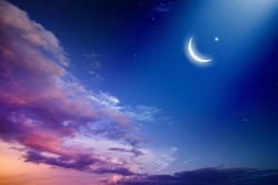 Ramadan Kareem background with moon and stars, holy month. Elements of this image furnished by NASA nasa.gov