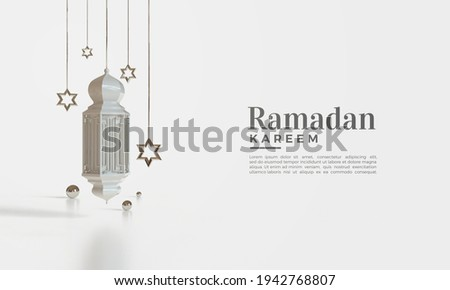 Ramadan kareem 3d render with hanging lights and stars.