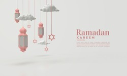 Ramadan kareem 3d render with hanging lights.  Keywords language: English