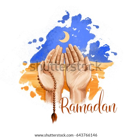 Ramadan Kareem holiday greeting card design. Beads and Crescent symbols of Ramadan Mubarak. Man praying to Allah. Digital art illustration with colorful paint splash background. Graphic clip art