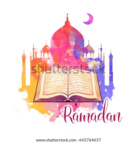 Ramadan Kareem holiday greeting card design. Symbols of Ramadan Mubarak: Muslim Mosque, Crescent, Quran book. Digital art illustration with colorful paint splashes. Graphic clip art for web and print